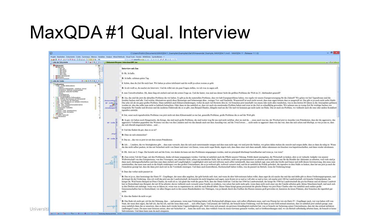 MaxQDA #1 Qual. Interview Universität zu Köln