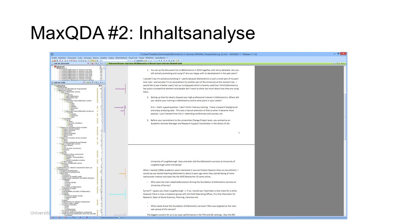 MaxQDA #2: Inhaltsanalyse Universität zu Köln