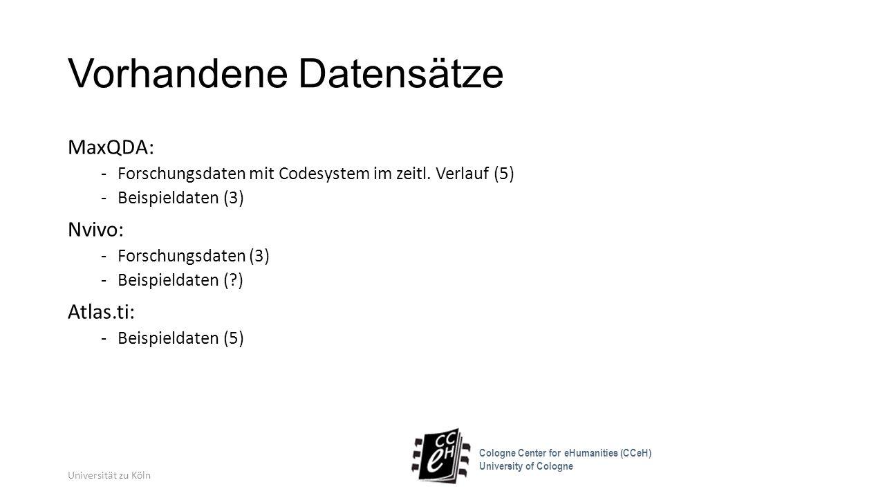 Vorhandene Datensätze MaxQDA: -Forschungsdaten mit Codesystem im zeitl. Verlauf (5) -Beispieldaten (3) Nvivo: -Forschungsdaten (3) -Beispieldaten (?)