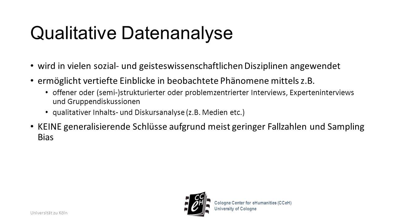 """QDA-Software ist zunächst lediglich eine Datenbank in Kombination mit spezifischen Funktionen für Annotation (drag&drop), Editierung und Visualisierung gibt keine bestimmte Methode der Analyse vor, beeinflusst aber deren Optionen sowie den Arbeitsstil Funktionalität ist insbesondere im Hinblick auf Export durchaus heterogen (XML bei Max QDA und Atlas.ti, HTML nur pro Code/ """"node bei NVivo) Universität zu Köln Cologne Center for eHumanities (CCeH) University of Cologne"""