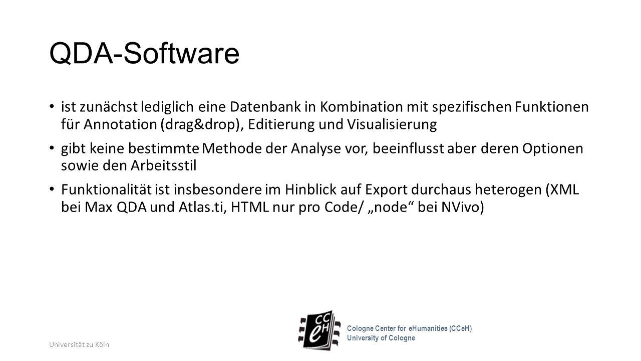 QDA-Software ist zunächst lediglich eine Datenbank in Kombination mit spezifischen Funktionen für Annotation (drag&drop), Editierung und Visualisierun