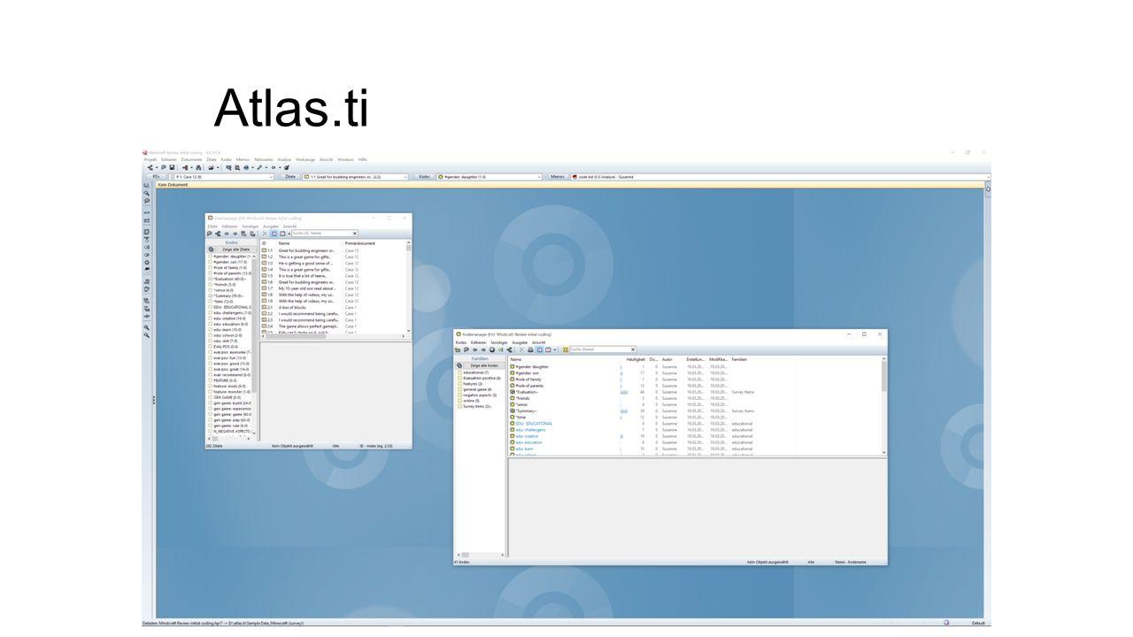 Themen 1.Prediction Codes 2.Prediction Codenamen/ -konzepte 3.Modellierung in TEI 4.Evolution von Codesystemen (-kategorien) 5.Linguistische Analysen von Codes 6.Code-Kontext 7.Individualität (Prediction Coder) 8.Unterschiedliche Akzente MaxQDA, atlas.ti, NVivo