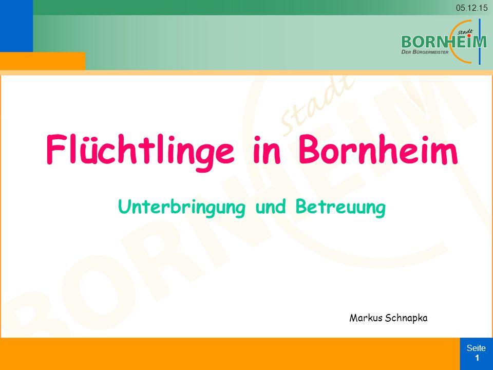 05.12.15 Seite 1 Flüchtlinge in Bornheim Unterbringung und Betreuung Markus Schnapka