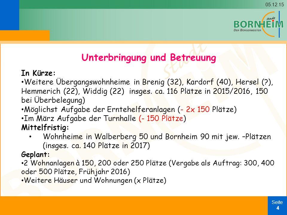 05.12.15 Seite 4 In Kürze: Weitere Übergangswohnheime in Brenig (32), Kardorf (40), Hersel ( ), Hemmerich (22), Widdig (22) insges.