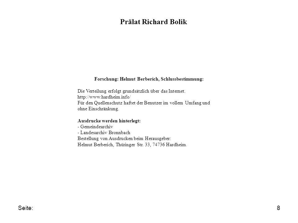 Seite:8 Prälat Richard Bolik Forschung: Helmut Berberich, Schlussbestimmung: Die Verteilung erfolgt grundsätzlich über das Internet. http://www.hardhe