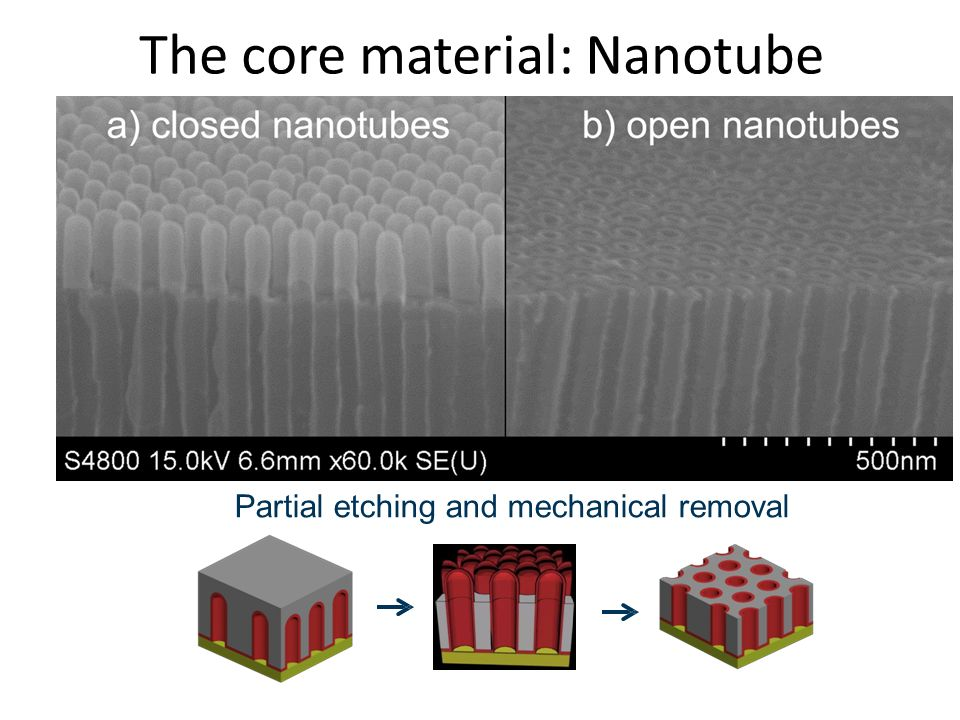 The core material: Nanotube opening Partial etching and mechanical removal