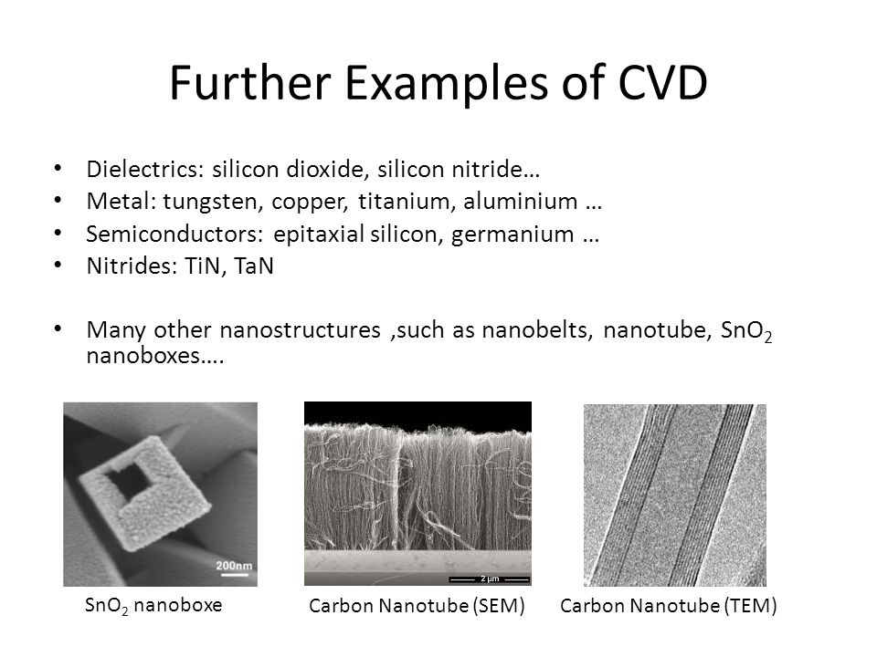 Further Examples of CVD Dielectrics: silicon dioxide, silicon nitride… Metal: tungsten, copper, titanium, aluminium … Semiconductors: epitaxial silico