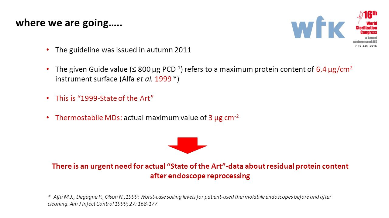 7-10 oct. 2015 where we are going….. The guideline was issued in autumn 2011 The given Guide value (≤ 800 µg PCD -1 ) refers to a maximum protein cont
