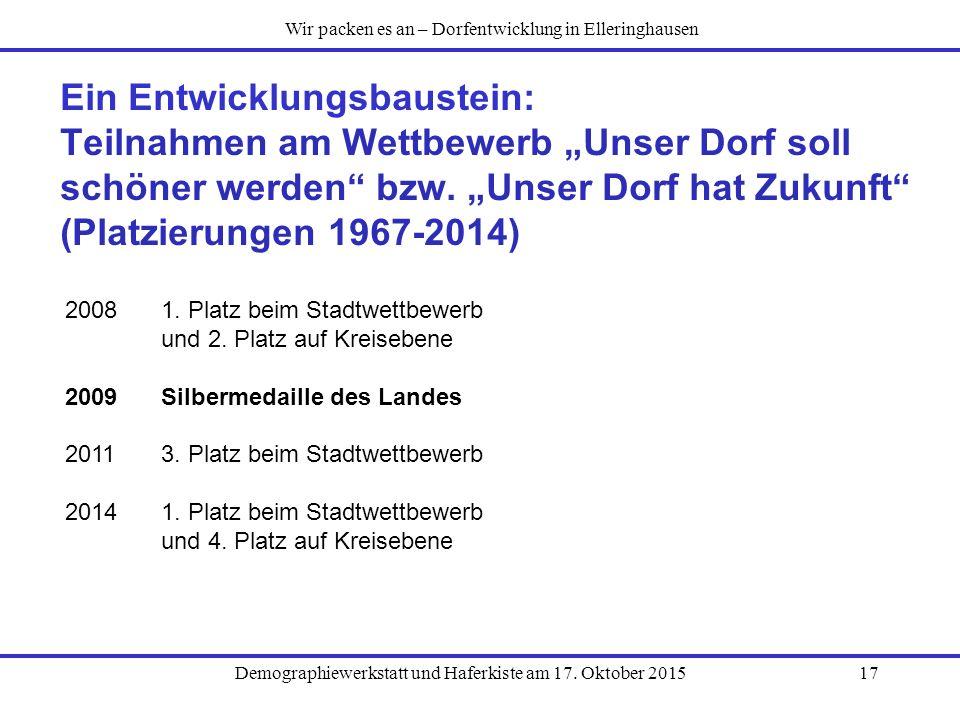 """Demographiewerkstatt und Haferkiste am 17. Oktober 201517 Ein Entwicklungsbaustein: Teilnahmen am Wettbewerb """"Unser Dorf soll schöner werden"""" bzw. """"Un"""