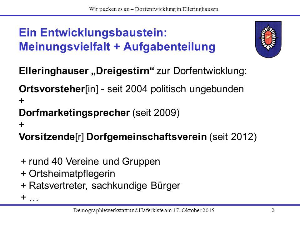 """Demographiewerkstatt und Haferkiste am 17. Oktober 20152 Ein Entwicklungsbaustein: Meinungsvielfalt + Aufgabenteilung Elleringhauser """"Dreigestirn"""" zur"""