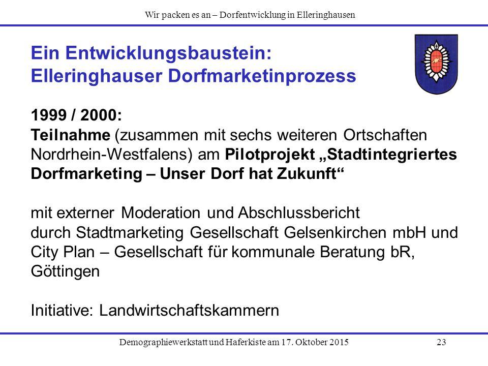 Demographiewerkstatt und Haferkiste am 17. Oktober 201523 Ein Entwicklungsbaustein: Elleringhauser Dorfmarketinprozess 1999 / 2000: Teilnahme (zusamme