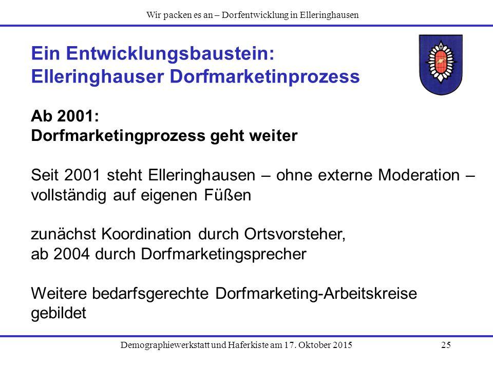 Demographiewerkstatt und Haferkiste am 17. Oktober 201525 Ein Entwicklungsbaustein: Elleringhauser Dorfmarketinprozess Ab 2001: Dorfmarketingprozess g