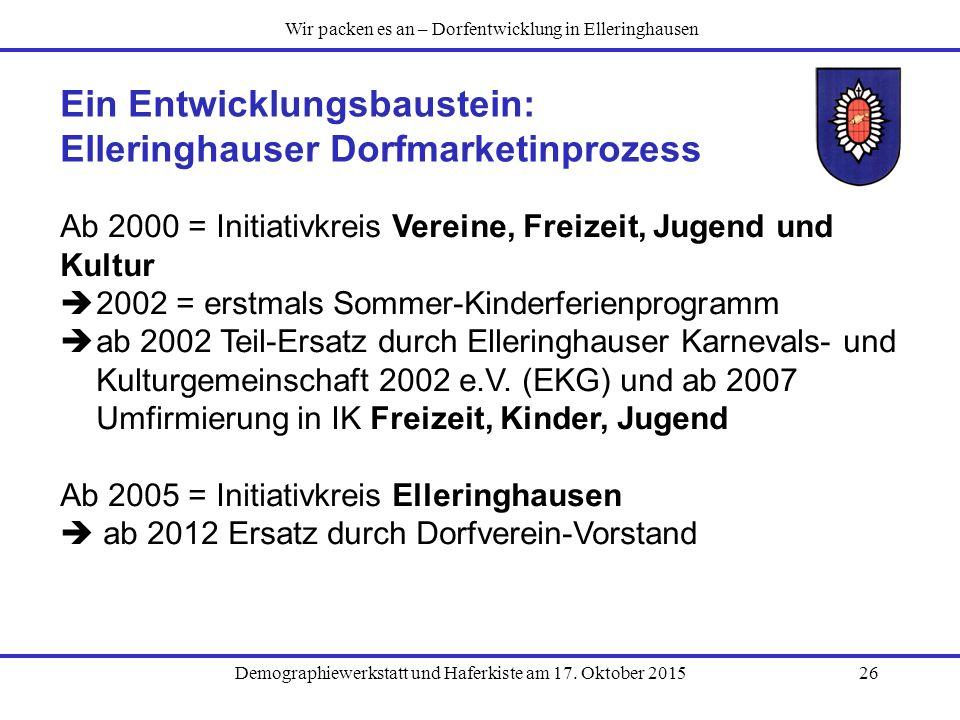Demographiewerkstatt und Haferkiste am 17. Oktober 201526 Ein Entwicklungsbaustein: Elleringhauser Dorfmarketinprozess Ab 2000 = Initiativkreis Verein