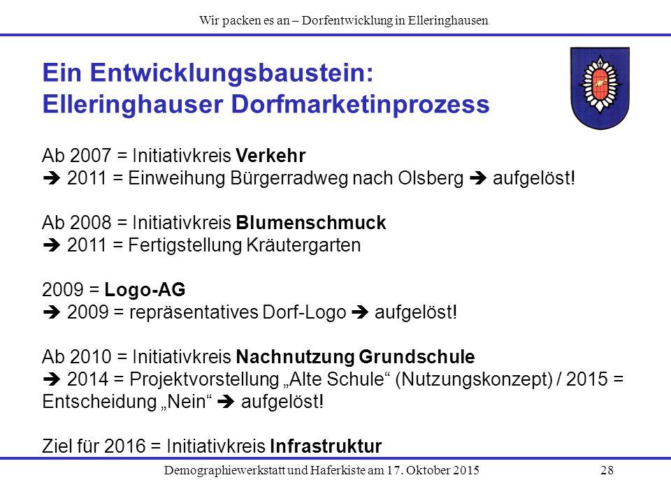 Demographiewerkstatt und Haferkiste am 17. Oktober 201528 Ein Entwicklungsbaustein: Elleringhauser Dorfmarketinprozess Ab 2007 = Initiativkreis Verkeh