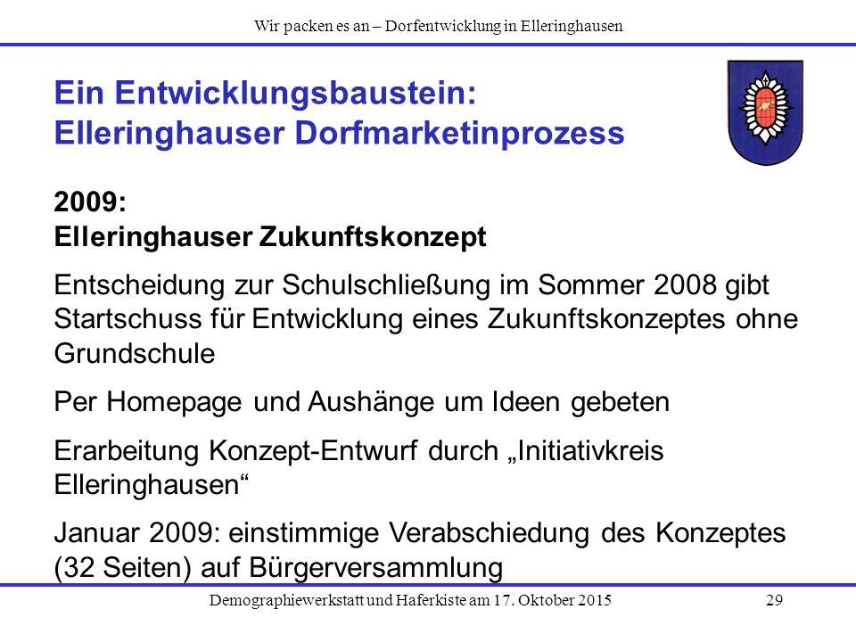 Demographiewerkstatt und Haferkiste am 17. Oktober 201529 Ein Entwicklungsbaustein: Elleringhauser Dorfmarketinprozess 2009: Elleringhauser Zukunftsko