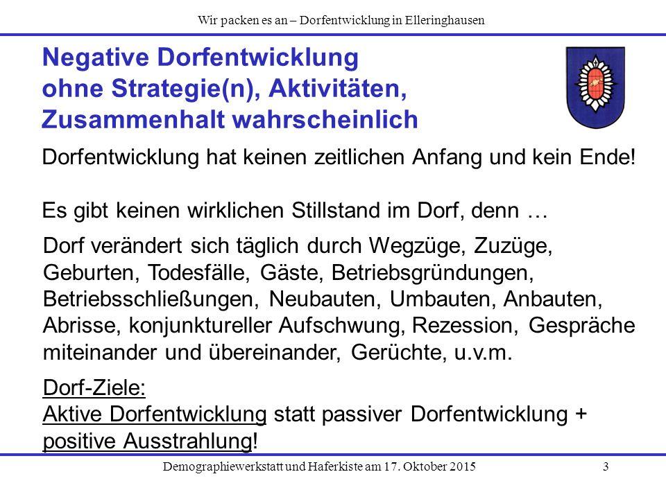 Demographiewerkstatt und Haferkiste am 17. Oktober 20153 Negative Dorfentwicklung ohne Strategie(n), Aktivitäten, Zusammenhalt wahrscheinlich Dorfentw