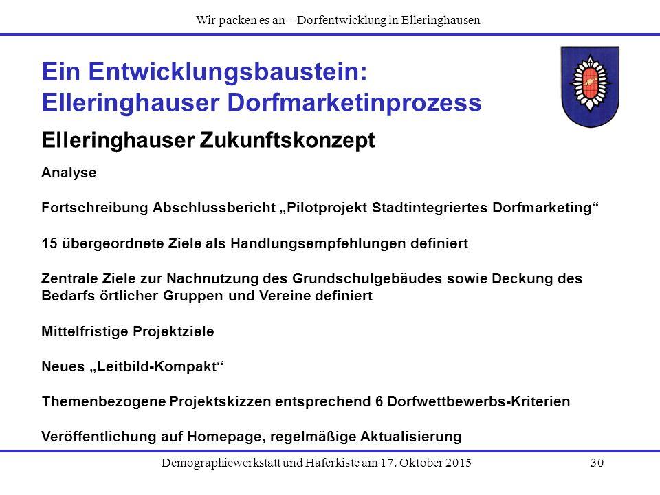 Demographiewerkstatt und Haferkiste am 17. Oktober 201530 Ein Entwicklungsbaustein: Elleringhauser Dorfmarketinprozess Elleringhauser Zukunftskonzept