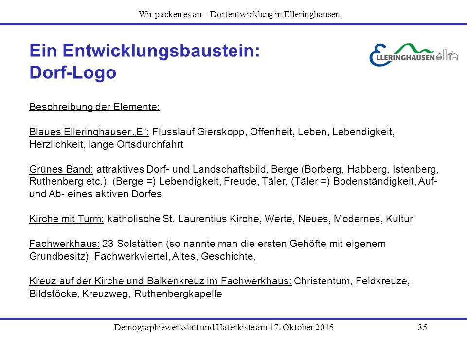 """Demographiewerkstatt und Haferkiste am 17. Oktober 201535 Ein Entwicklungsbaustein: Dorf-Logo Beschreibung der Elemente: Blaues Elleringhauser """"E"""": Fl"""