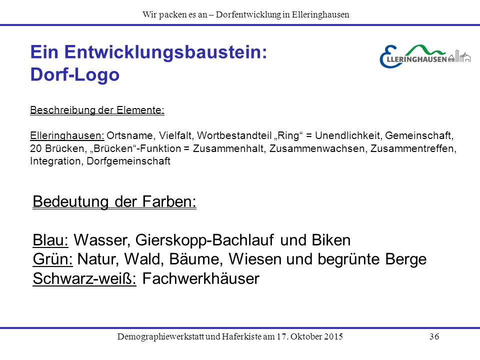 Demographiewerkstatt und Haferkiste am 17. Oktober 201536 Ein Entwicklungsbaustein: Dorf-Logo Beschreibung der Elemente: Elleringhausen: Ortsname, Vie