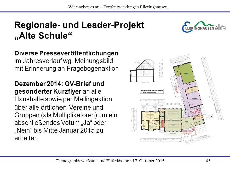 """Demographiewerkstatt und Haferkiste am 17. Oktober 201543 Regionale- und Leader-Projekt """"Alte Schule"""" Diverse Presseveröffentlichungen im Jahresverlau"""