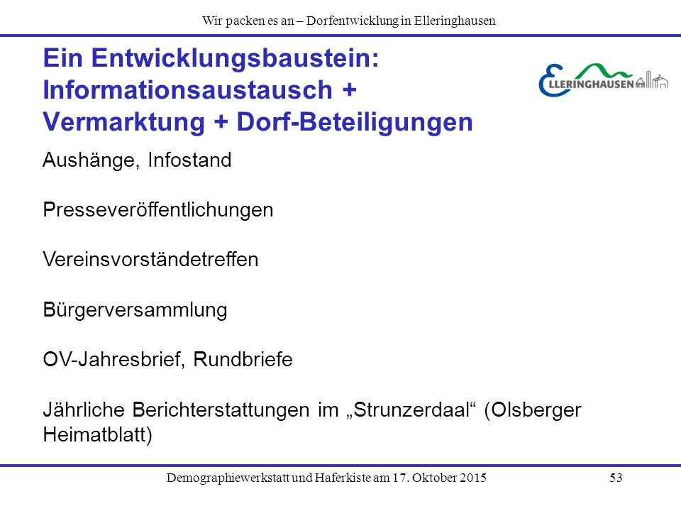Demographiewerkstatt und Haferkiste am 17. Oktober 201553 Ein Entwicklungsbaustein: Informationsaustausch + Vermarktung + Dorf-Beteiligungen Aushänge,