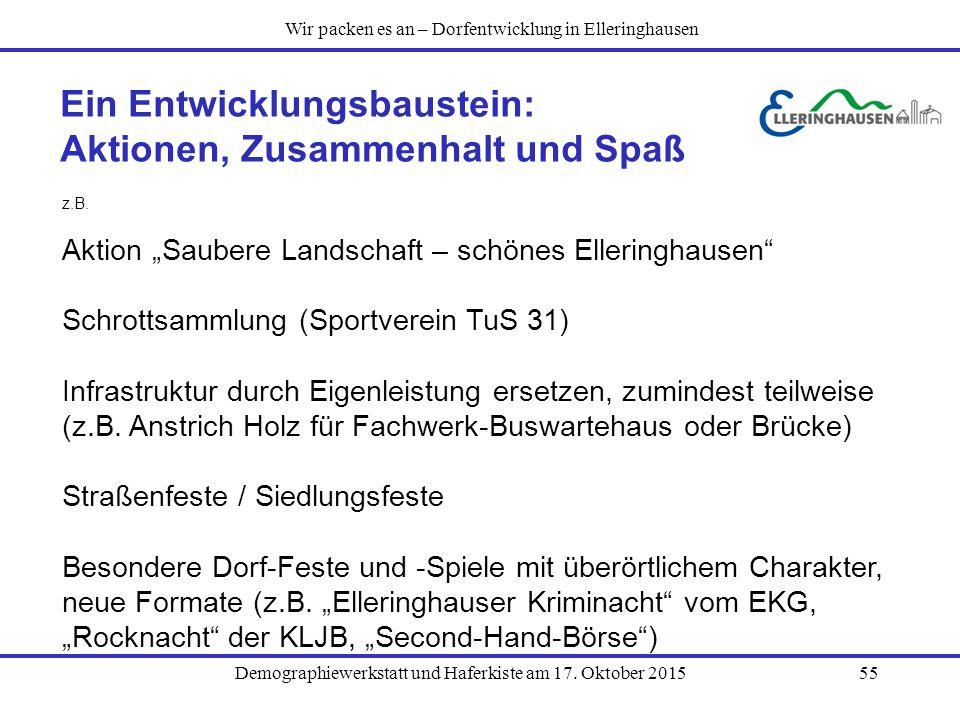 """Demographiewerkstatt und Haferkiste am 17. Oktober 201555 Ein Entwicklungsbaustein: Aktionen, Zusammenhalt und Spaß z.B. Aktion """"Saubere Landschaft –"""