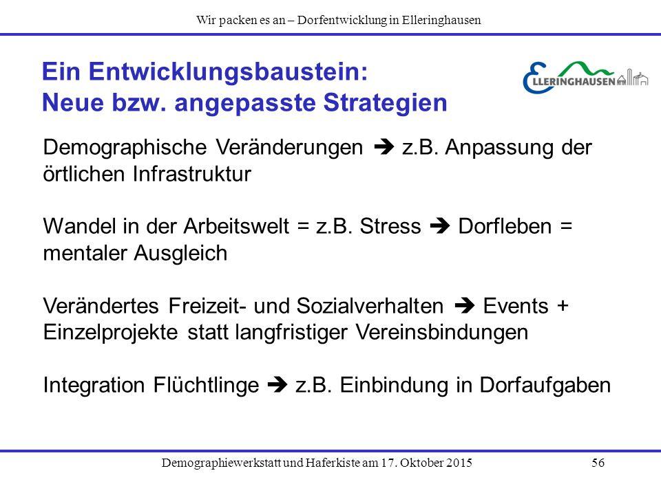 Demographiewerkstatt und Haferkiste am 17. Oktober 201556 Ein Entwicklungsbaustein: Neue bzw. angepasste Strategien Demographische Veränderungen  z.B