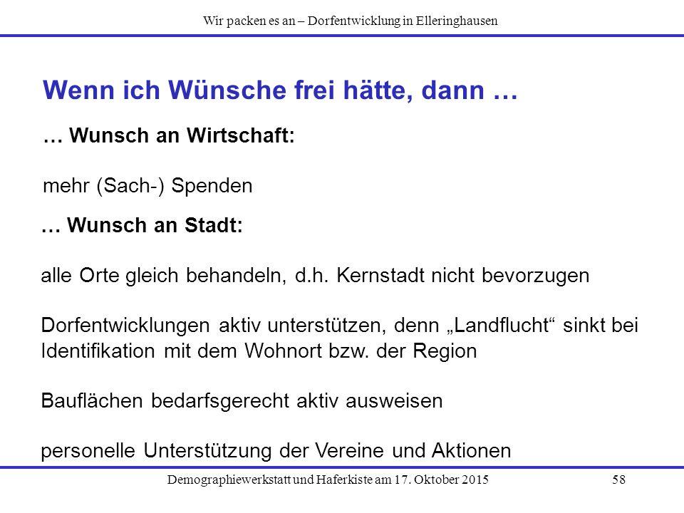 Demographiewerkstatt und Haferkiste am 17. Oktober 201558 Wenn ich Wünsche frei hätte, dann … … Wunsch an Wirtschaft: mehr (Sach-) Spenden Wir packen