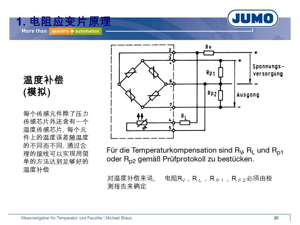 20Messwertgeber für Temperatur und Feuchte | Michael Braun 温度补偿 ( 模拟 ) 每个传感元件除了压力 传感芯片外还含有一个 温度传感芯片.