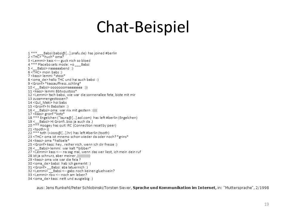 Chat-Beispiel 1 ***___Babsi (babsi@[...].snafu.de) has joined #berlin 2 *huch* oma? 3 kass naaaaaabend :) 6 moin babs :) 7 lemmi *stoss* 8 hallo THC u