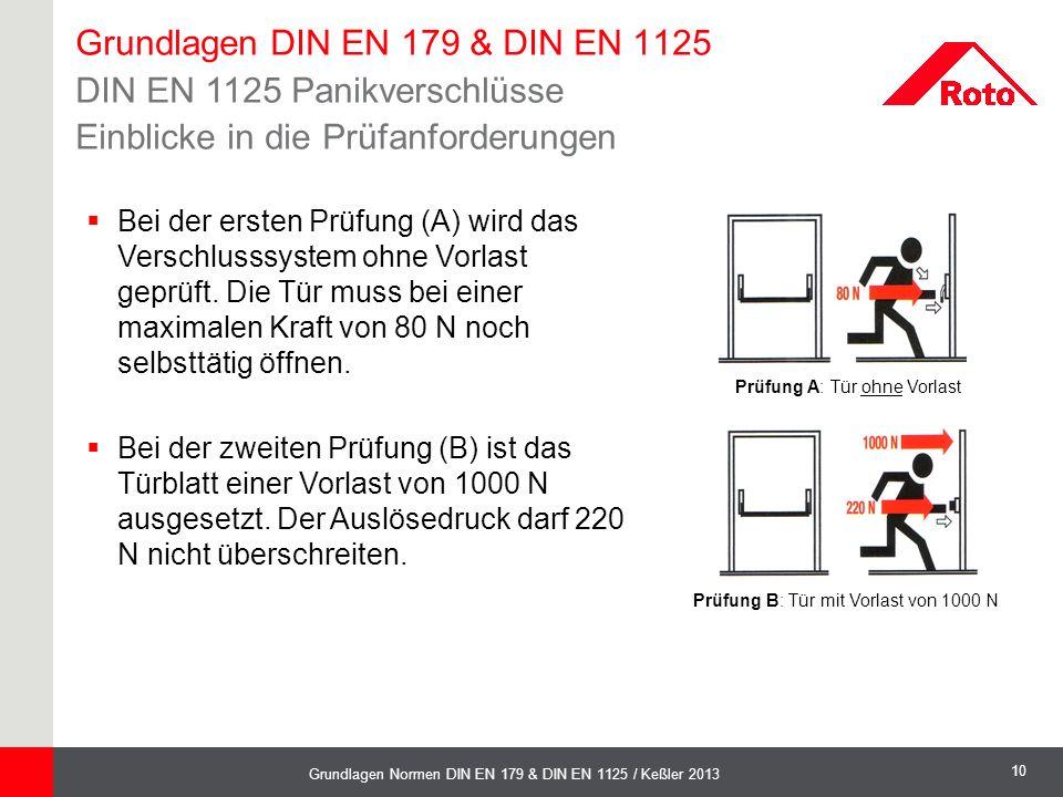 10 Grundlagen Normen DIN EN 179 & DIN EN 1125 / Keßler 2013 Grundlagen DIN EN 179 & DIN EN 1125 DIN EN 1125 Panikverschlüsse Einblicke in die Prüfanfo