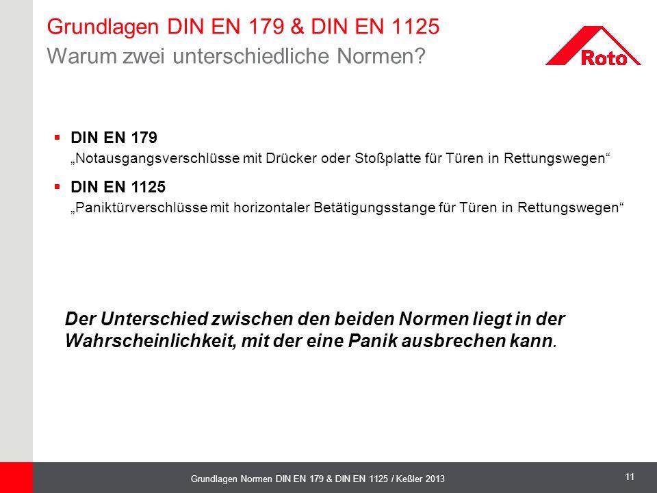 """11 Grundlagen Normen DIN EN 179 & DIN EN 1125 / Keßler 2013  DIN EN 179 """"Notausgangsverschlüsse mit Drücker oder Stoßplatte für Türen in Rettungswege"""