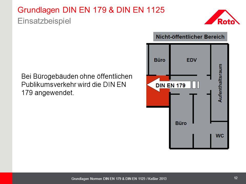 12 Grundlagen Normen DIN EN 179 & DIN EN 1125 / Keßler 2013 Bei Bürogebäuden ohne öffentlichen Publikumsverkehr wird die DIN EN 179 angewendet. Grundl