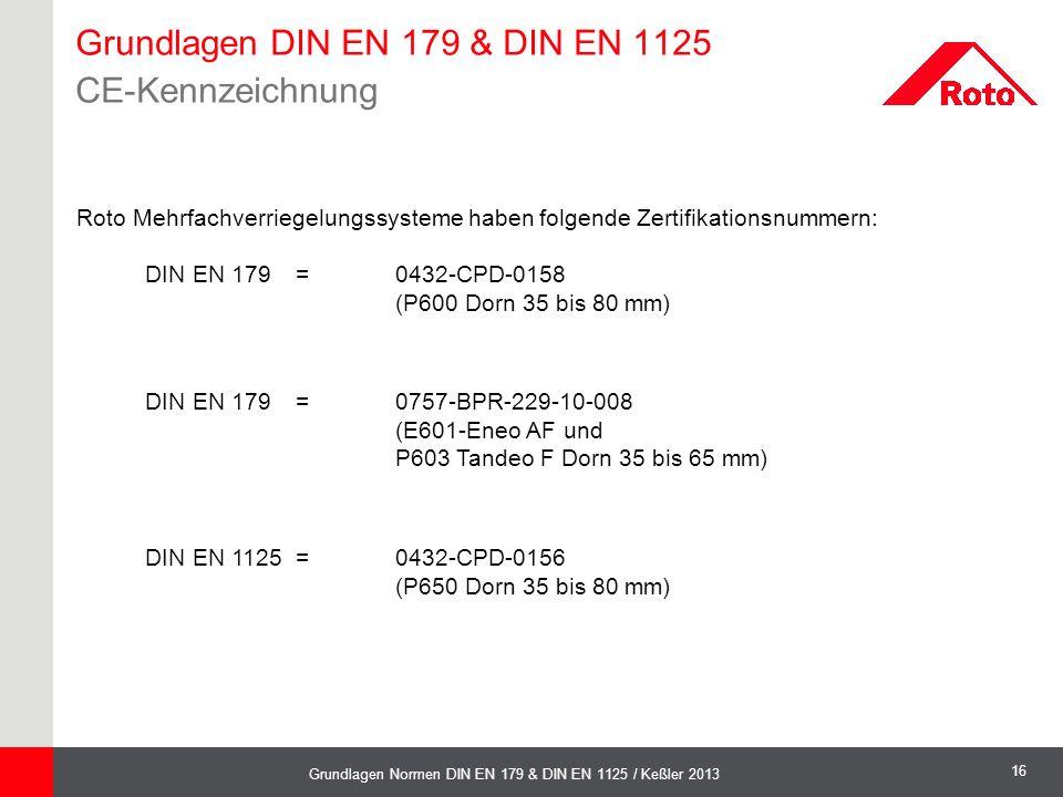 16 Grundlagen Normen DIN EN 179 & DIN EN 1125 / Keßler 2013 Roto Mehrfachverriegelungssysteme haben folgende Zertifikationsnummern: DIN EN 179 =0432-C