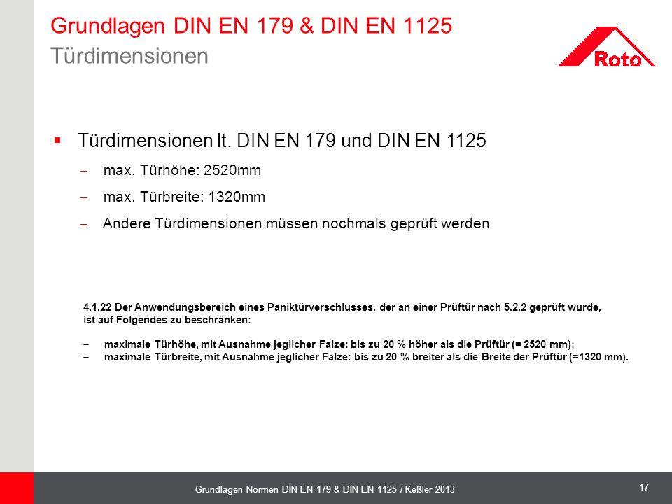 17 Grundlagen Normen DIN EN 179 & DIN EN 1125 / Keßler 2013  Türdimensionen lt. DIN EN 179 und DIN EN 1125  max. Türhöhe: 2520mm  max. Türbreite: 1