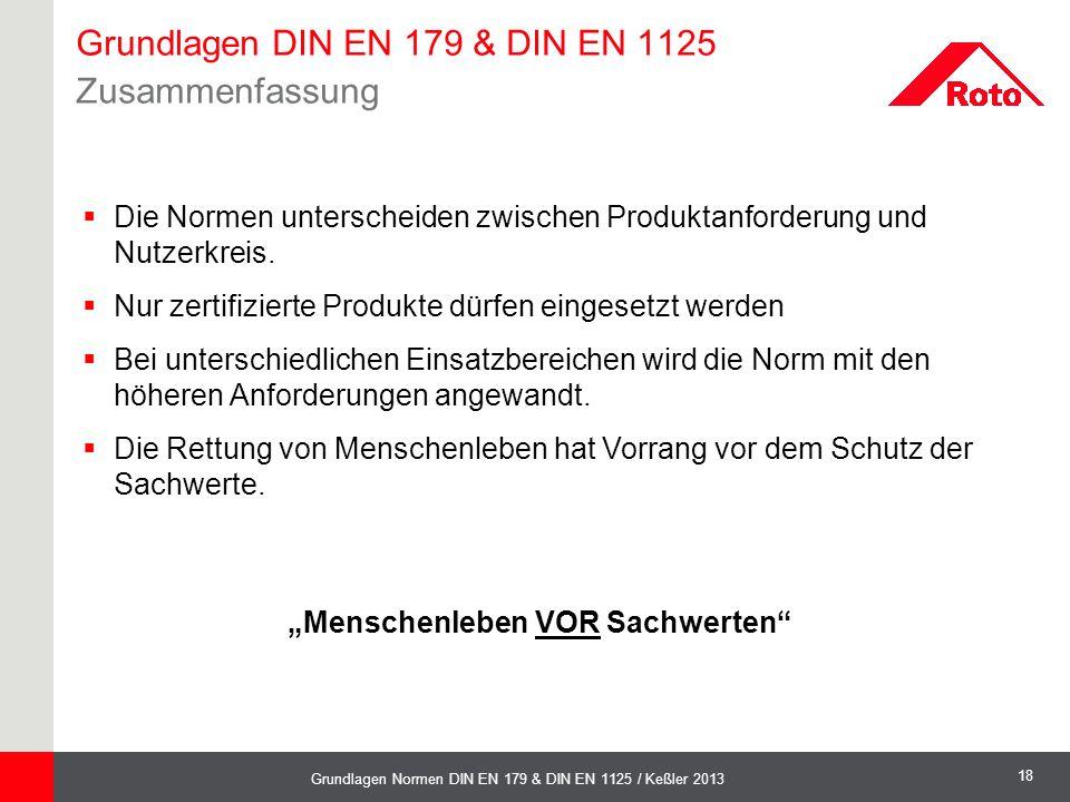 18 Grundlagen Normen DIN EN 179 & DIN EN 1125 / Keßler 2013 Grundlagen DIN EN 179 & DIN EN 1125 Zusammenfassung  Die Normen unterscheiden zwischen Pr