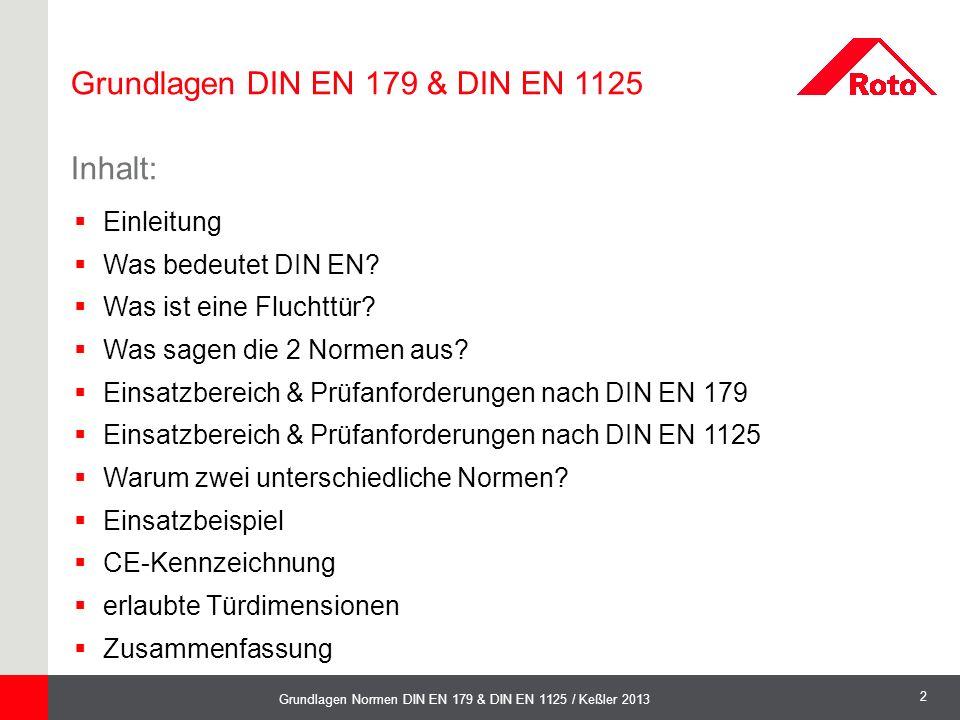 2 Grundlagen Normen DIN EN 179 & DIN EN 1125 / Keßler 2013  Einleitung  Was bedeutet DIN EN?  Was ist eine Fluchttür?  Was sagen die 2 Normen aus?