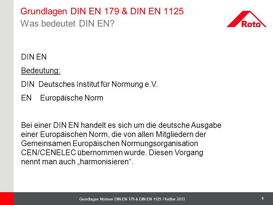 4 Grundlagen Normen DIN EN 179 & DIN EN 1125 / Keßler 2013 DIN EN Bedeutung: DIN Deutsches Institut für Normung e.V. EN Europäische Norm Bei einer DIN