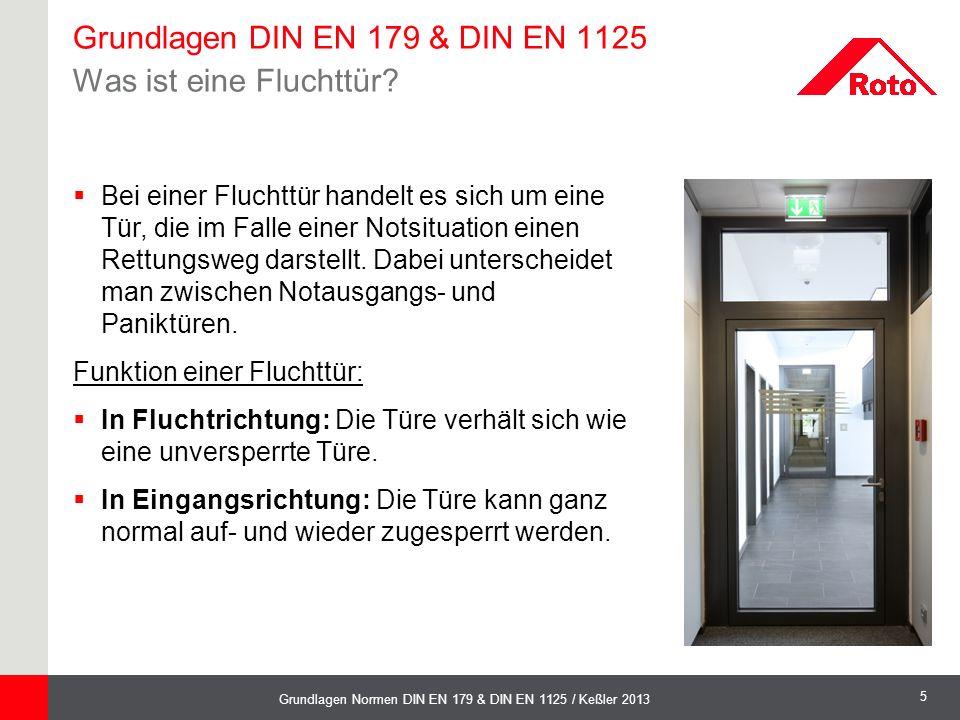 5 Grundlagen Normen DIN EN 179 & DIN EN 1125 / Keßler 2013  Bei einer Fluchttür handelt es sich um eine Tür, die im Falle einer Notsituation einen Re