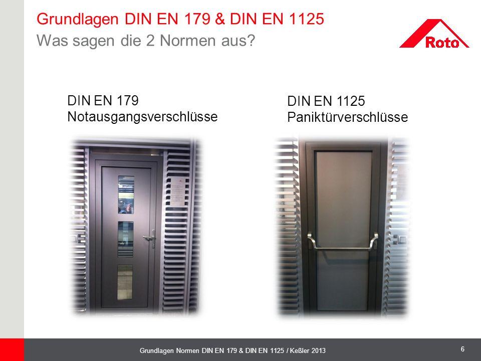 6 Grundlagen Normen DIN EN 179 & DIN EN 1125 / Keßler 2013 DIN EN 1125 Paniktürverschlüsse DIN EN 179 Notausgangsverschlüsse Grundlagen DIN EN 179 & D