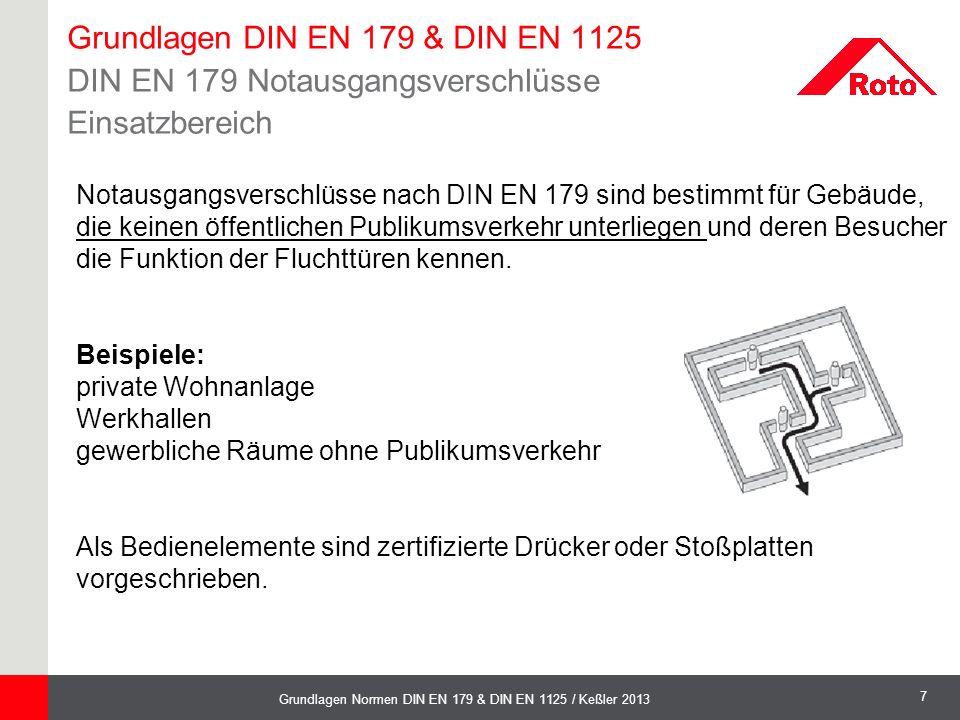 8 Grundlagen Normen DIN EN 179 & DIN EN 1125 / Keßler 2013  Bei der Prüfung eines Notausgangsverschlusses mit Drücker darf die zum Freigeben des Verschlusses erforderliche Kraft 70 N nicht übersteigen.