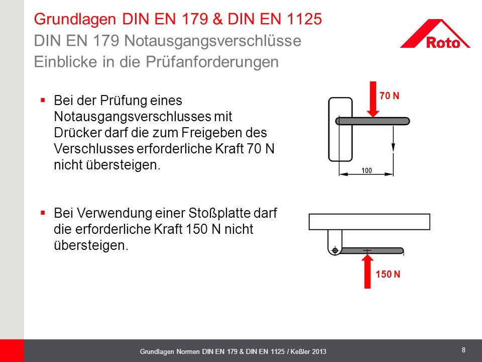8 Grundlagen Normen DIN EN 179 & DIN EN 1125 / Keßler 2013  Bei der Prüfung eines Notausgangsverschlusses mit Drücker darf die zum Freigeben des Vers