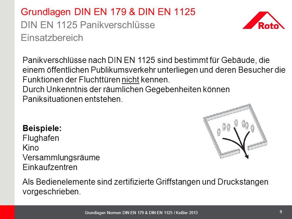 9 Grundlagen Normen DIN EN 179 & DIN EN 1125 / Keßler 2013 Panikverschlüsse nach DIN EN 1125 sind bestimmt für Gebäude, die einem öffentlichen Publiku