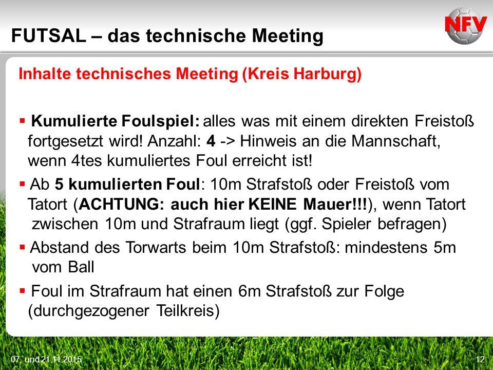 07. und 21.11.201512 FUTSAL – das technische Meeting Inhalte technisches Meeting (Kreis Harburg)  Kumulierte Foulspiel: alles was mit einem direkten