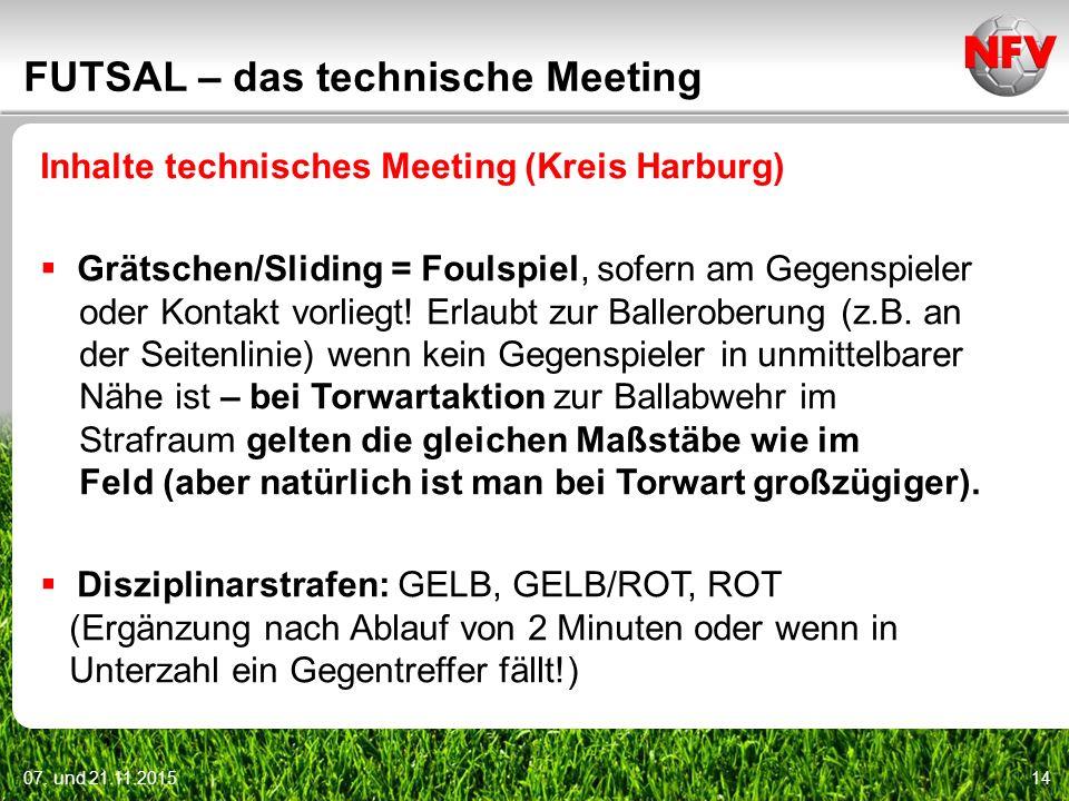 07. und 21.11.201514 FUTSAL – das technische Meeting Inhalte technisches Meeting (Kreis Harburg)  Grätschen/Sliding = Foulspiel, sofern am Gegenspiel