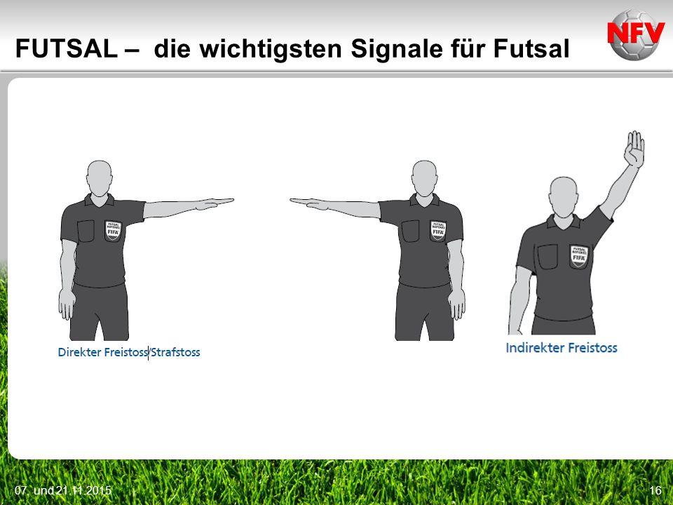 07. und 21.11.201516 FUTSAL – die wichtigsten Signale für Futsal