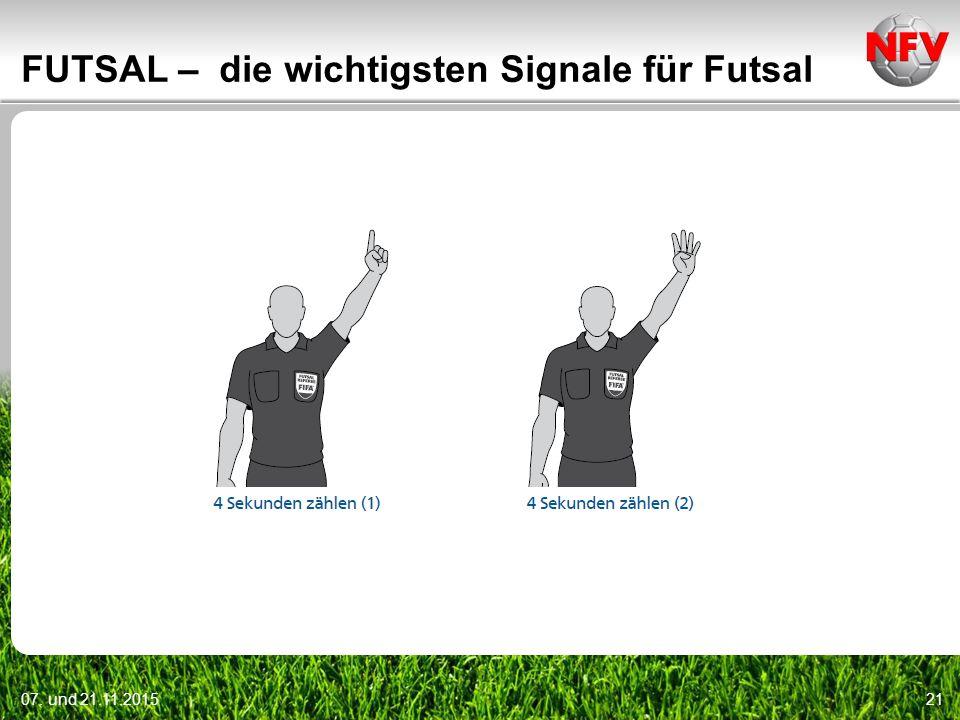 07. und 21.11.201521 FUTSAL – die wichtigsten Signale für Futsal