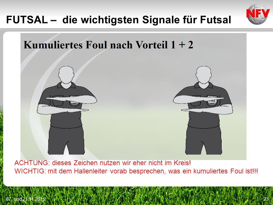 07. und 21.11.201523 FUTSAL – die wichtigsten Signale für Futsal ACHTUNG: dieses Zeichen nutzen wir eher nicht im Kreis! WICHTIG: mit dem Hallenleiter