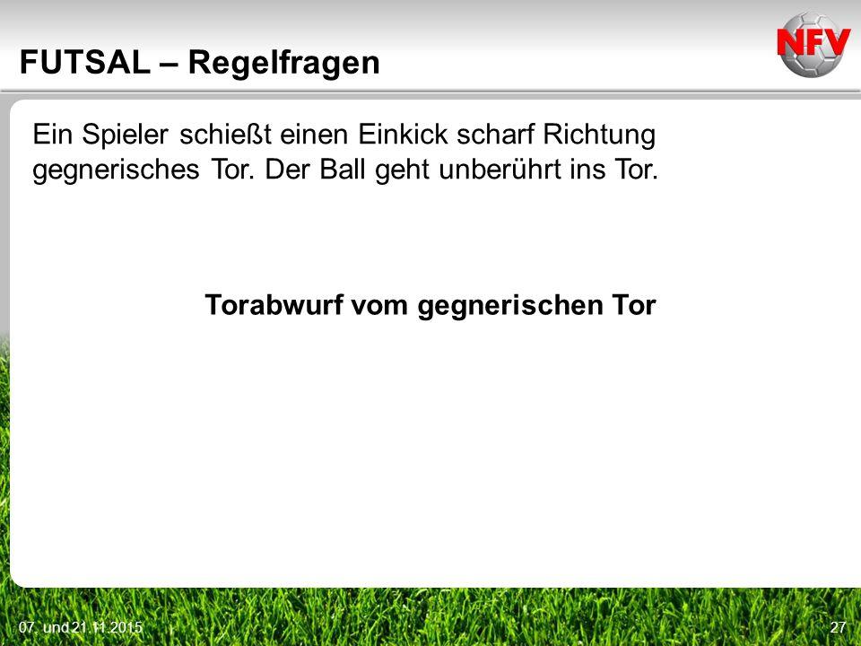 07. und 21.11.201527 FUTSAL – Regelfragen Ein Spieler schießt einen Einkick scharf Richtung gegnerisches Tor. Der Ball geht unberührt ins Tor. Torabwu