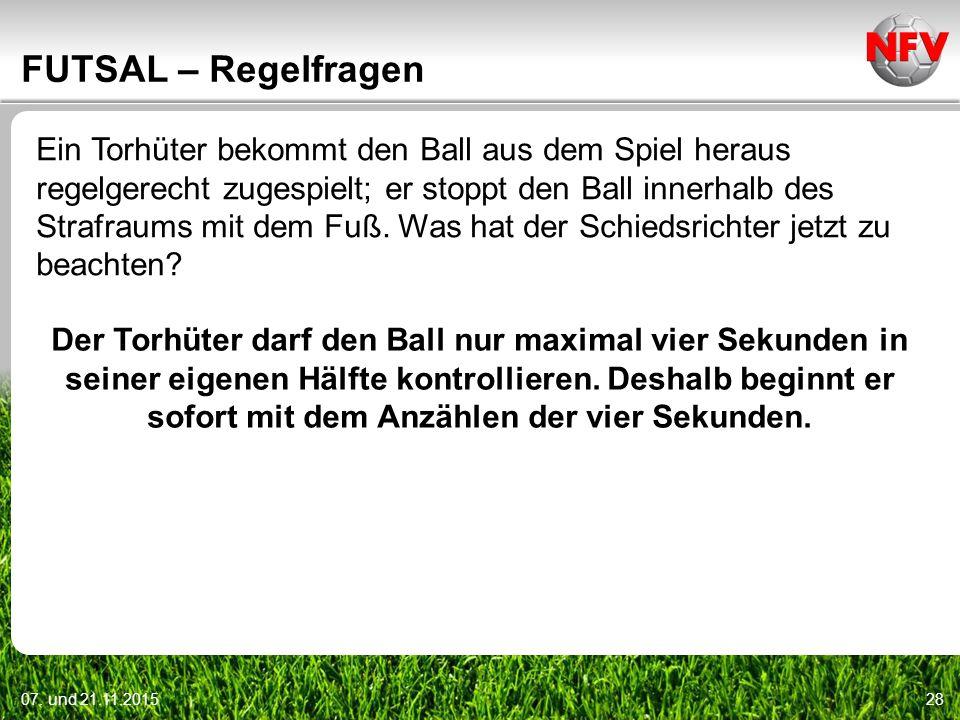 07. und 21.11.201528 FUTSAL – Regelfragen Ein Torhüter bekommt den Ball aus dem Spiel heraus regelgerecht zugespielt; er stoppt den Ball innerhalb des